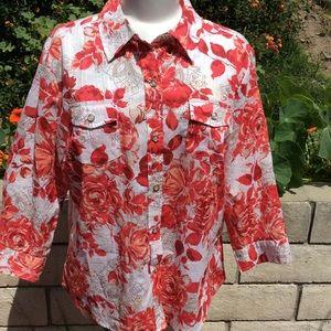 Karen Scott blouse L Floral Multicolor 3/4 sleeves